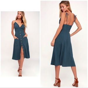 Lulus Blue Dark Denim Button Front Midi Dress